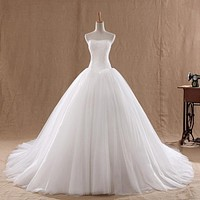 Hot Sale 0.8M Court Train Wedding Dress 2016 Cheap Celebrity Strapless Vintage Tulle Bridal Ball Gown Organza Lace bridal dress
