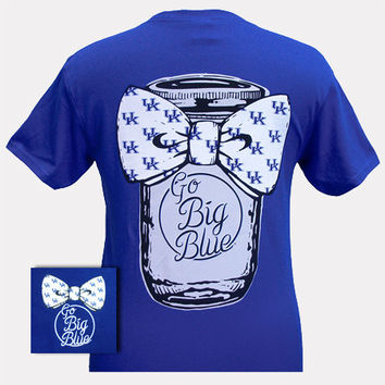 New UK Kentucky Wildcats Big Blue Mason Jar Bow Girlie Bright T Shirt