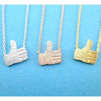 Thumbs Up Hand Signal Gesture Shaped Pendant Necklace