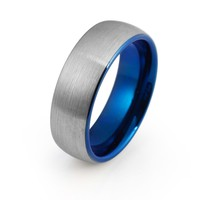 Blue Wedding Ring Tungsten Carbide Mens Wedding Band Brushed 8mm Tungsten Ring Silver Blue Ring Man Engagement Ring Anniversary Promise Matching Set