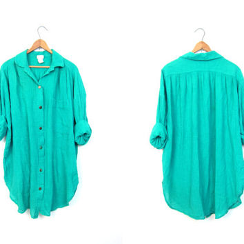 Cotton GAUZE Blouse Turquoise Green 80s Boho Hippie Top Oversized Vintage Minimal Shirt Long Sleeve Frock DELLS Womens XL Free Size