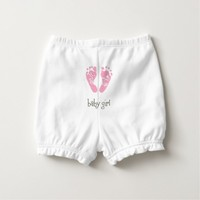 Baby's Ruffled Diaper Bloomers/Baby Girl with Feet Diaper Cover