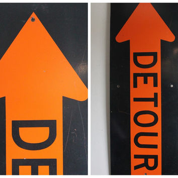 Large Vintage Industrial DETOUR Traffic Sign, Cool Mid Century Signage