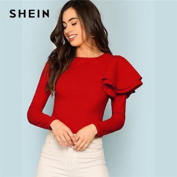 SHEIN Red Modern Lady Weekend Casual Round Neck Zip Back Ruffle One Sleeve Long Sleeve Tee Autumn Women Tshirt Top
