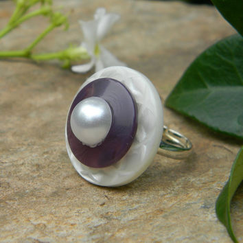 Modern purple button ring adjustable ring purple and pearl handmade jewelry