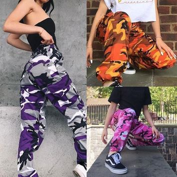 Women Fashion Camouflage Pattern High Waisted Yoga Pants Loose Casual Pants Sports Trousers