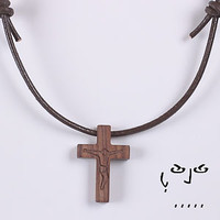Rosewood Cross / Crucifix Necklace