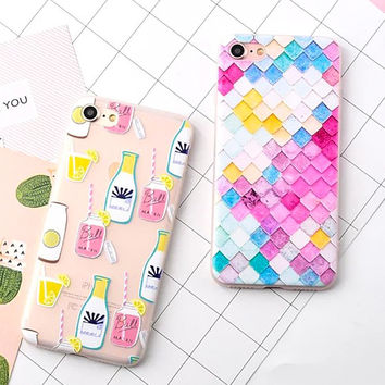 Lovely Rainbow Fish Scales Colorful Case For iphone 7 Case For iphone7 7 Plus Back Cover Cute Cartoon Unicorn Bottle Phone Cases -0316
