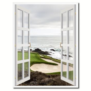 Pebble Beach California Golf Course Picture French Window Canvas Print with Frame Gifts Home Decor Wall Art Collection