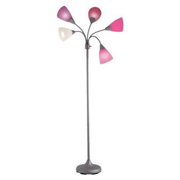 Pink 5-Light Contemporary Floor Lamp with Multi Color Cone Shades