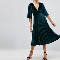 ASOS TALL Pleated Velvet Kimono Midi Dress at asos.com