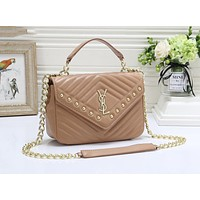 YSL Classic Women Shopping Bag Leather Handbag Rivet Shoulder Bag Crossbody Satchel Khaki
