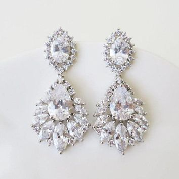 Marquise Bridal Earrings with grade AAA cubic zirconia in fan shaped