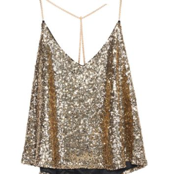 Gold Sequinned Strap Top