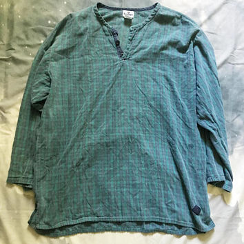 Long Oversized Green Plaid Flannel Tee Vintage