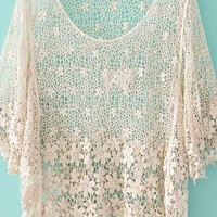 A 071133 fashion Crochet hollow shirt from cassie2013