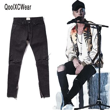 QoolXCWear NEW  hip hop icon fear of god fog men zippers skinny slim pants jeans in black size 29-36