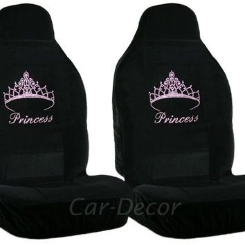 Rhinestone Pink Princess Car Seat Covers 2 Pc
