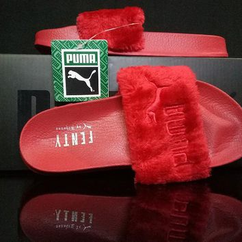 Puma Fenty x Rihanna Leadcat Fenty Fur Slide Women's Sandals Red