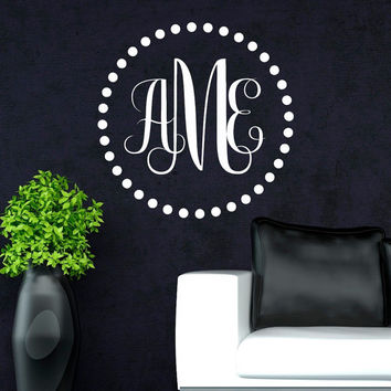 Monogram Wall Decal Personalized Initial - Family Wall Decals Art Home Decor Design Interior Living Room or Bedroom M027