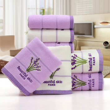 2pcs/set 34*75cm Elegant Lavender Cotton Terry Towels for Adults Face Bathroom Hand Towels