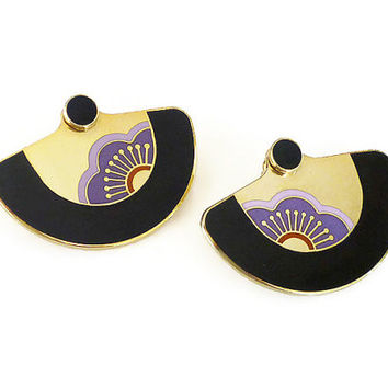 Laurel Burch Earrings, Asian Fan, Gold Tone, Enamel, Pierced Earrings, Vintage Jewelry