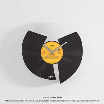 Wu Tang Clan wall clock from upcycled vinyl record (LP) | Hand-made gift for Wu Tang fan | Hip-hop lover home wall decoration, present, gift