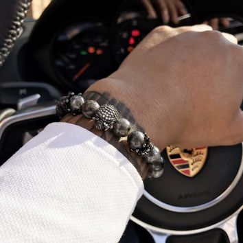 Mcllroy Bracelet Men/stone beads/skull/bracelet homme gray beads bracelets bangles mens jewelry Gift black friday deals