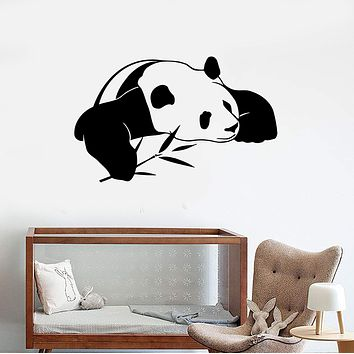 Wall Stickers Vinyl Decal Lazy Panda Funny Animal Bamboo Decor Mural Unique Gift (ig051)