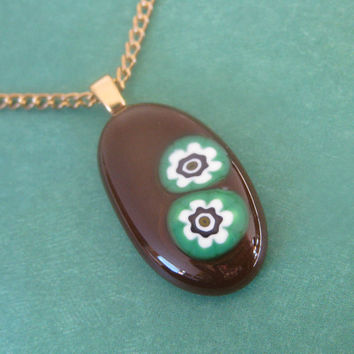 Small Fused Glass Pendant and Necklace Brown Oval - Caesar - by mysassyglass