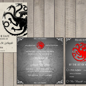 Wedding invitation Set Game of Thrones House Targaryan - Save the Date, Invitation, RSVP - Digital file