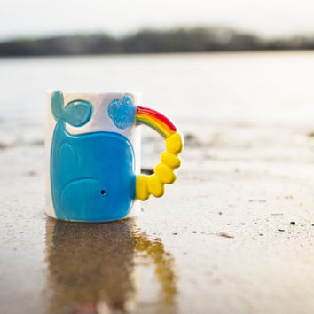 Unicorn Narwhal Whale Mug with Rainbow Handle, Birthday Gift for Any Kid or Nautical, Whale Lover