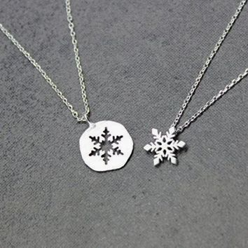 dainty Snowflake necklace Best friend necklace for 2 BFF Necklace friendship necklace for 2  Christma SanLan