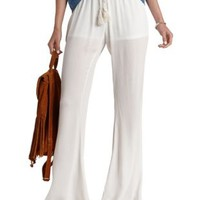 Ivory High-Waisted Gauze Flare Pants by Charlotte Russe
