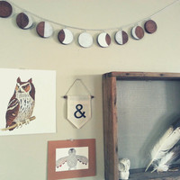 Wood, Moon phase garland with silver chain