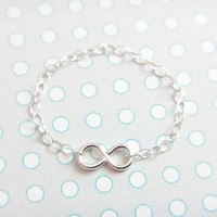 Silver Infinity Ring - sterling silver chain ring, simple everyday wear, minimalist jewelry