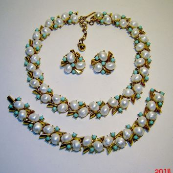 Vintage Trifari Fx Pearl Turquoise Southampton Necklace Bracelet Earrings 1959 AD