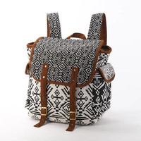 Wide Open Backpack/ Diaper Bag, Monochrome Southwestern Navajo Native American Indian Daypack B&W/ Black and White