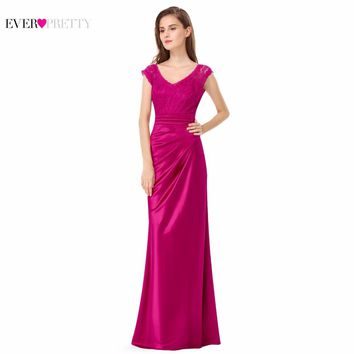 Asymmetrical Long Satin Lace Prom Evening Dresses XX68980PEB Ever Pretty Full Length Cap Sleeves Sexy V Back Design Party Gowns