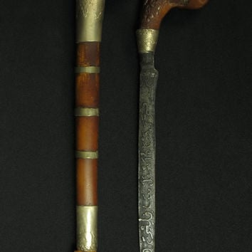 Batak Dagger. Indonesian Tribe Ceremonial Dagger / Knife, North Central Sumatra. Badik Keris/Kris Sword Blade Steel Jawi Verse Weapon Knife
