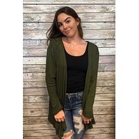 Cardi Party Cardigan Top- Olive