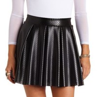 Perforated Faux Leather Pleated Skater Skirt - Black