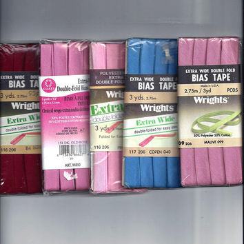 ONE, Vintage 1970s-80s Packaged Extra Wide Double Fold Bias Tape, 3 Yard Package, Poly Cotton Blend, Home Sew Trim, Vintage Sewing Notions