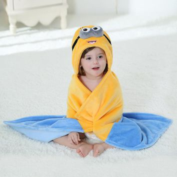 Minions Bear Cartoon Cosplay Newborn Baby Boy Girl Sleepers Robe Pajamas Flannel Hooded Pijamas Photography Design For Infant
