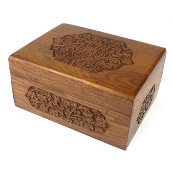 Handmade Carved Box - Rose Detail Design - Noahs Ark (B)
