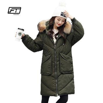 Fitaylor Winter Women Jacket Down Coat Hooded 90% White Duck Down Parkas Genuine Raccoon Fur Collar Loose Warm Military Overcoat