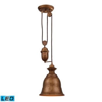 Elk Lighting 65060-1-LED Farmhouse Bellwether Pulley Adjustable Height Copper LED One Light Mini Pendant
