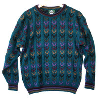 Vintage 90s Jantzen Cable Knit Chevron Cosby Ugly Sweater