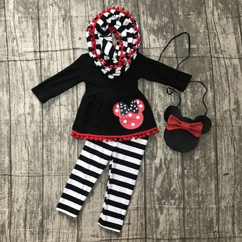 new FALL/Winter baby girls outfits 3 pieces scarf black stripe top mouse pom pom pant boutique children clothes match purse kids