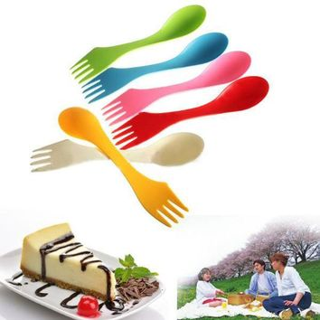 DCCKL72 New Creative Mini Spork Lunchbox Utensil Camping Hiking Outdoor Spoon Fork Combo Backpacking